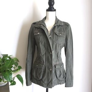 Army Green zip up utility jacket size 6